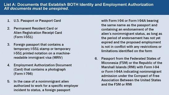 Form I-9 List A acceptable documents establishing both identity and work authorization