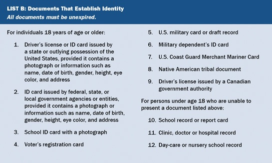Form I-9 List B acceptable documents establishing identity