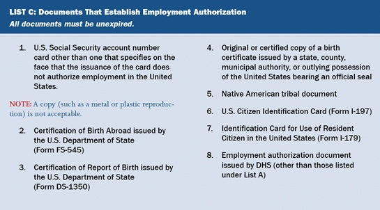 Form I-9 List C acceptable documents establishing employment authorization